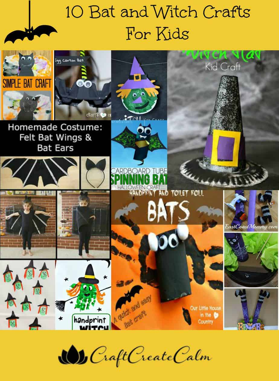 10 Bat and Witch Crafts for Kids