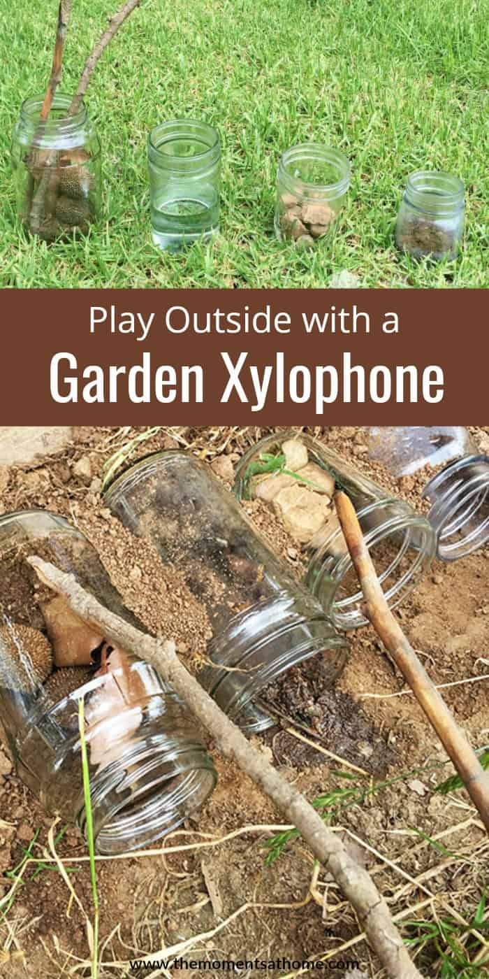 Play outside with this fun xylophone made from natural objects and glass jars. #spring