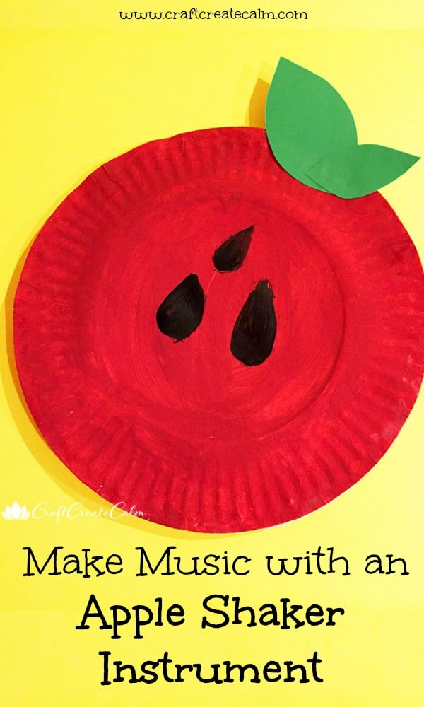 Make music with an apple shaker instrument. Fall craft for kids, apple art, back to school craft.
