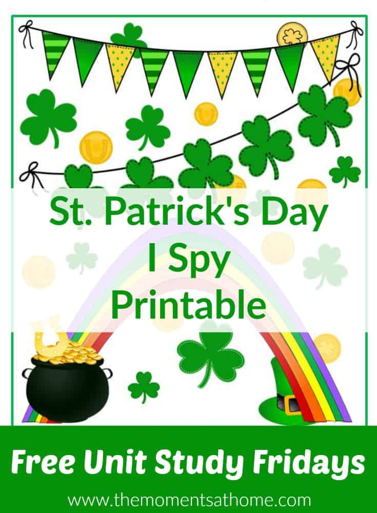 St. Patrick's Day printable for kids. Free i spy printable!