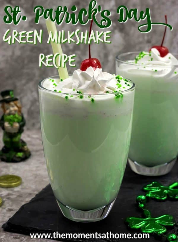 Green drink recipe for St. Patrick's Day. Make this green milkshake at a treat for your family!