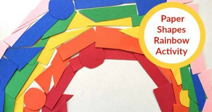 Construction Paper Shapes Rainbow Craft