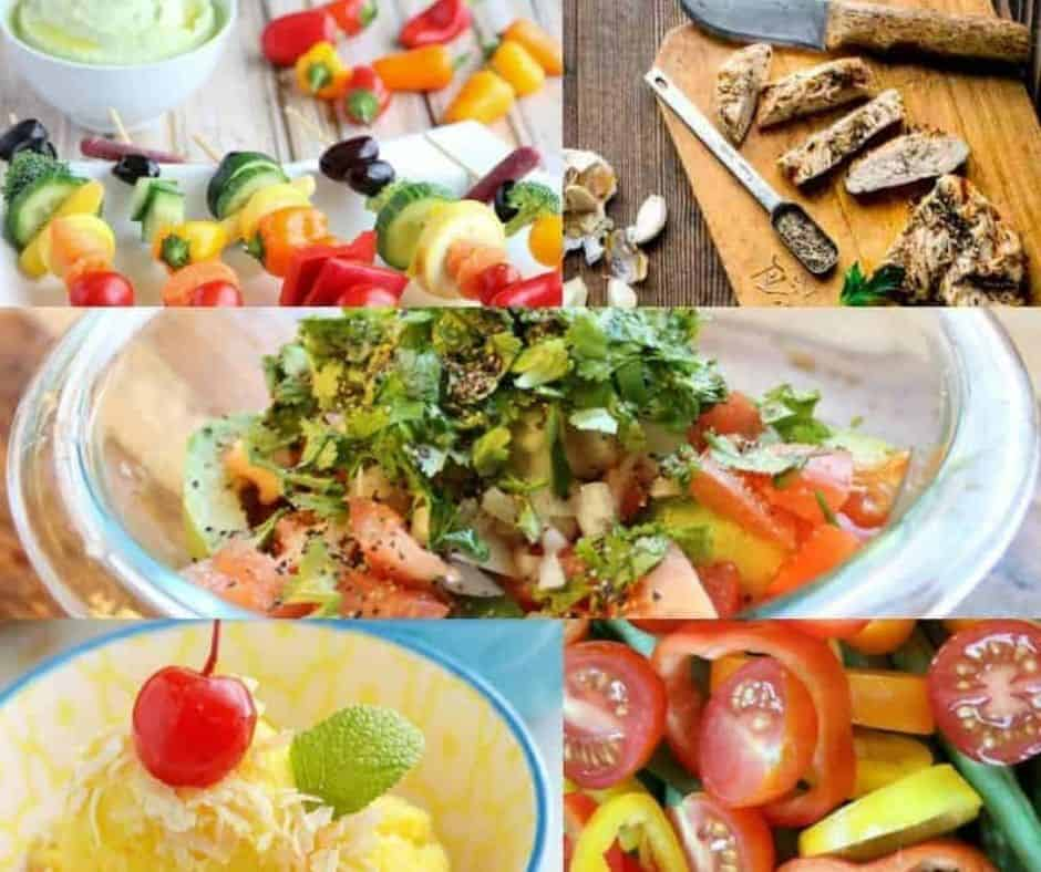 collage of diabetic friendly, low carb, sugar free summer food for a barbecue