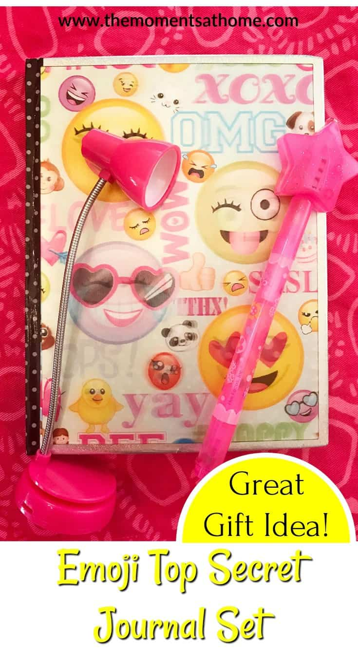 Top Secret Journal Set for kids makes a great gift. Write top secret messages. Emoji themed gift idea.