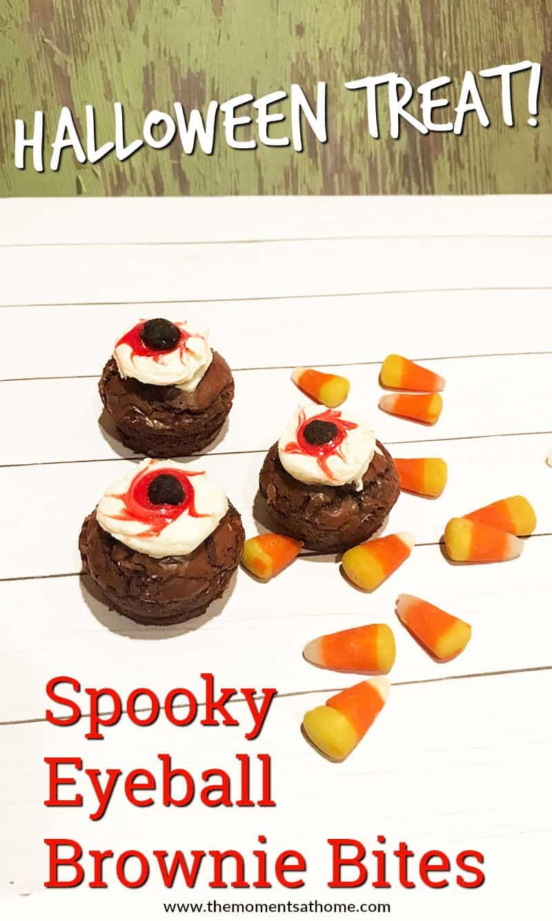 Spooky Halloween treat recipe. Eyeball brownie bites. Yummy treats for Hallowwen party!