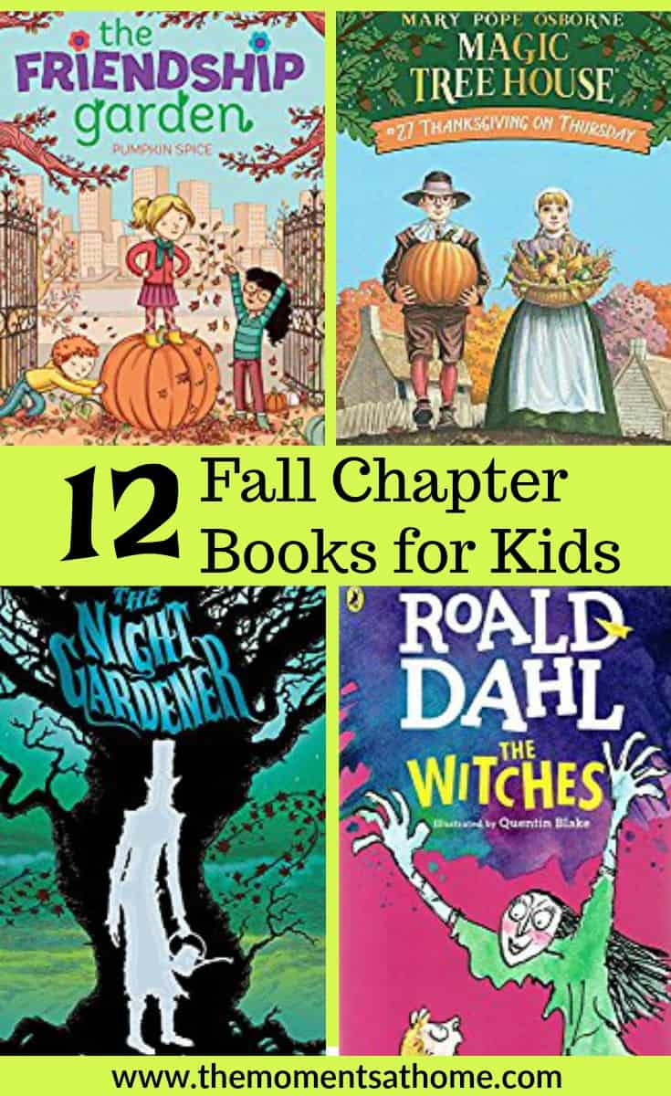 Fall chapter books for kids. A list of chapter books great for fall reading. Sppoky books for kids, Halloween books for kids, autumn books for kids. #chapterbooksforkids #fallbooks