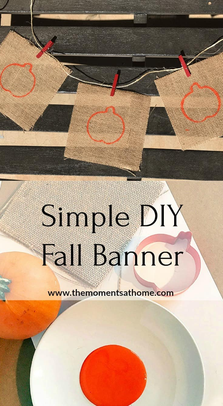 Make this pretty fall banner in minutes! Easy Halloween or Thanksgiving decoration. #falldecor #thanksgivingdecor #diycrafts
