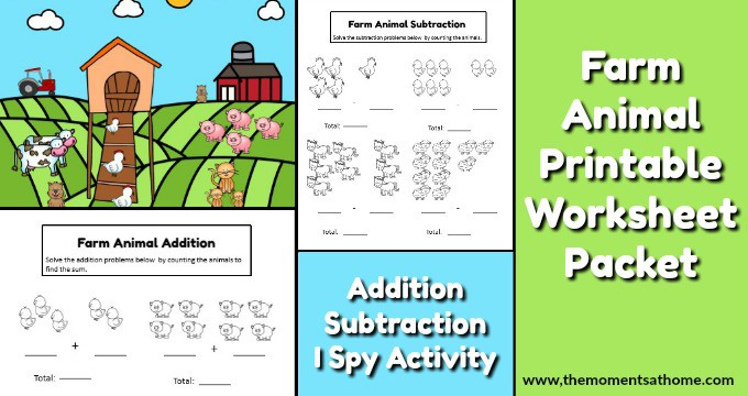 Farm Animal Addition and Subtraction Worksheets