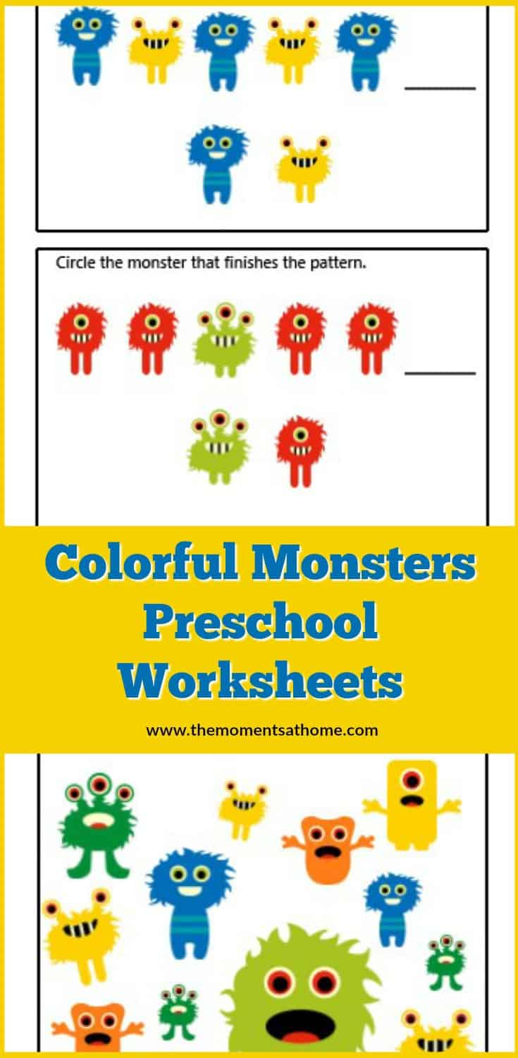 Learn colors and counting with this fun monster themed printable worksheet for kids. Free printable activities for preschoolers. #preschool #printable