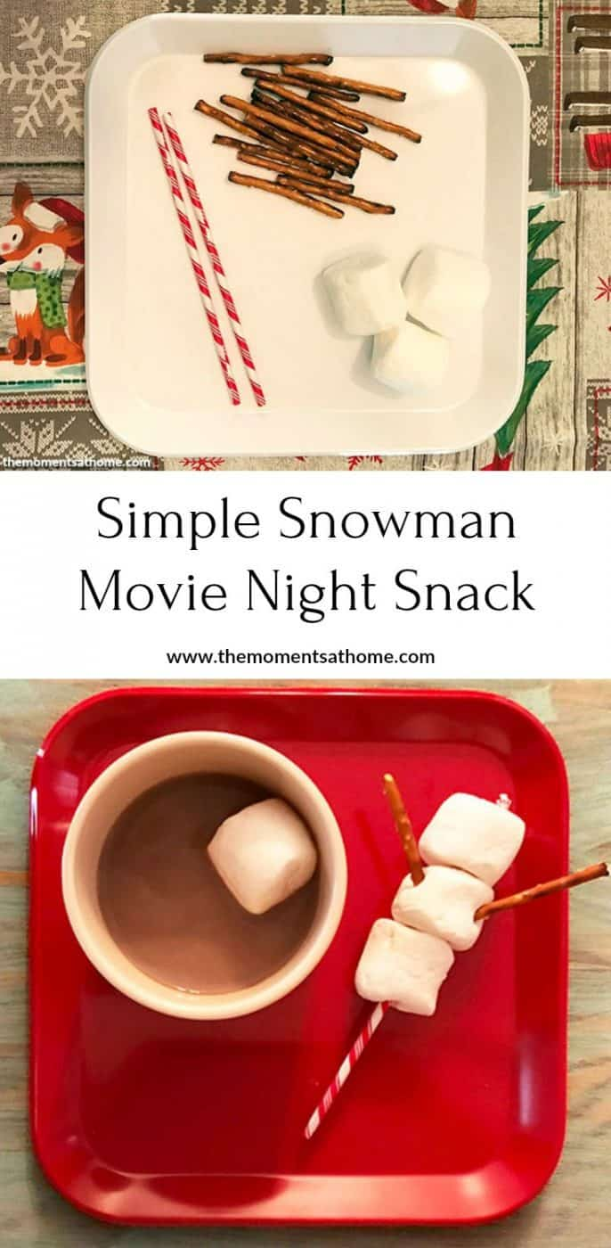 Simple snowman movie night snack to go with a Frosty the Snowman family movie night. Frosty the Snowman treats. Part of the 25 Days of Christmas and a Movie blog hop.