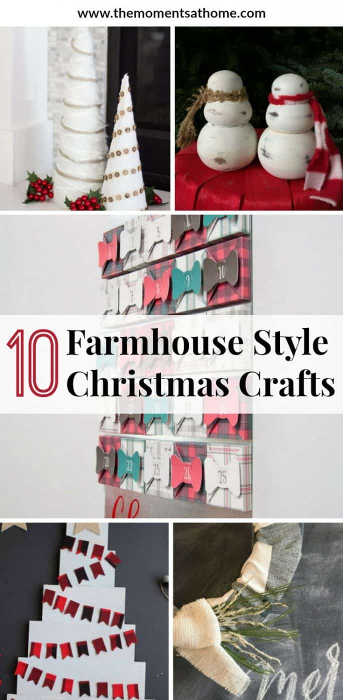 10 Farmhouse style Christmas crafts for you to make this holiday season. Decorate your home with farmhouse ornaments and winter decorations. #farmhousechristmas