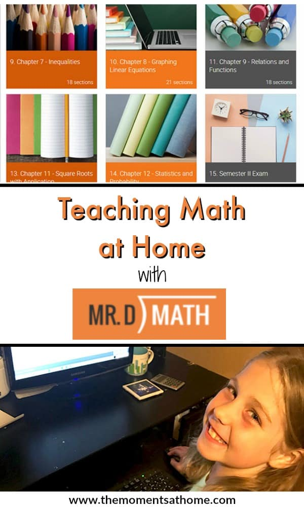 Ad Teach math at home with Mr. D Math. A distance learning program for homeschool families.