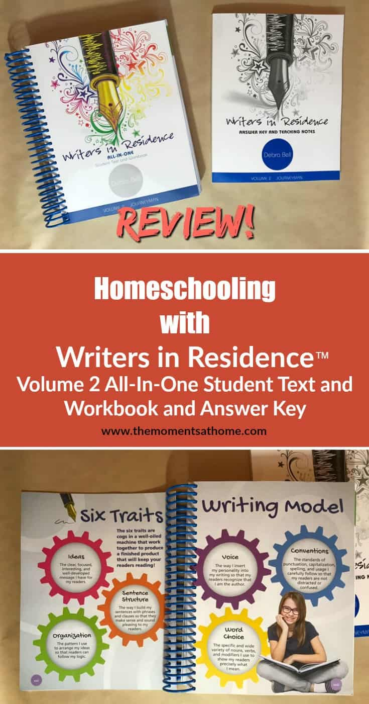 Homeschool Writing review.Writers in Residence™ is an all in one student text and teacher answer key with teaching notes from Apologia.