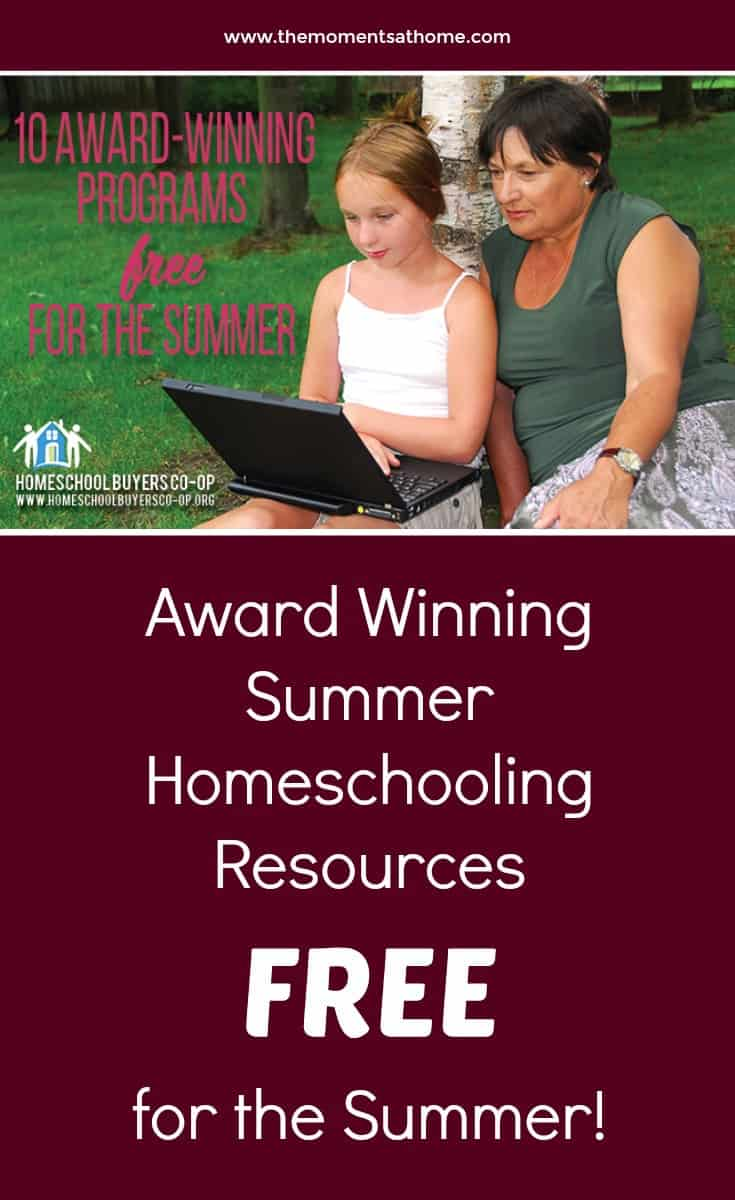 Awards winning summer homeschooling resources free for the summer! Homeschool buyers co-op homeschooling summer ideas. #homeschoolingresources