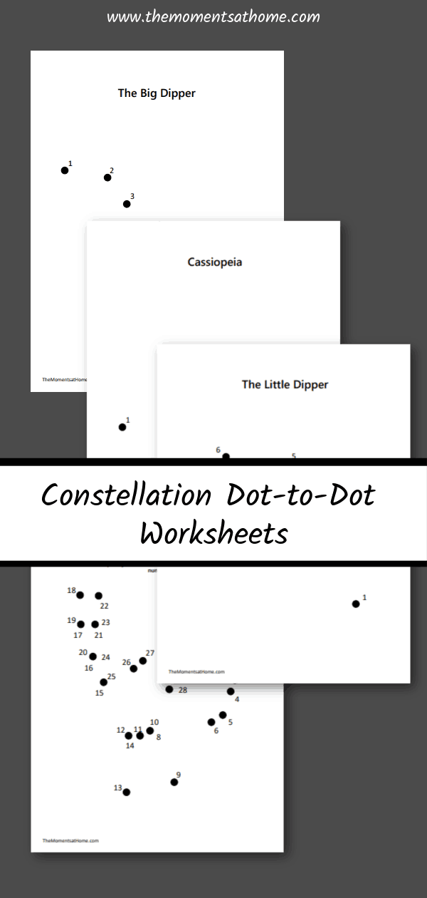 Dot-to-dot printable for kids. Constellation dot to dot printable. #outerspacecraft