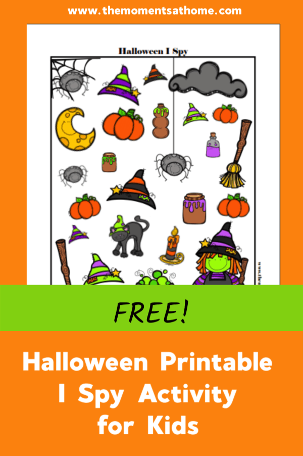 Halloween I Spy Printable for kids. #halloween #halloweenforkids #printables