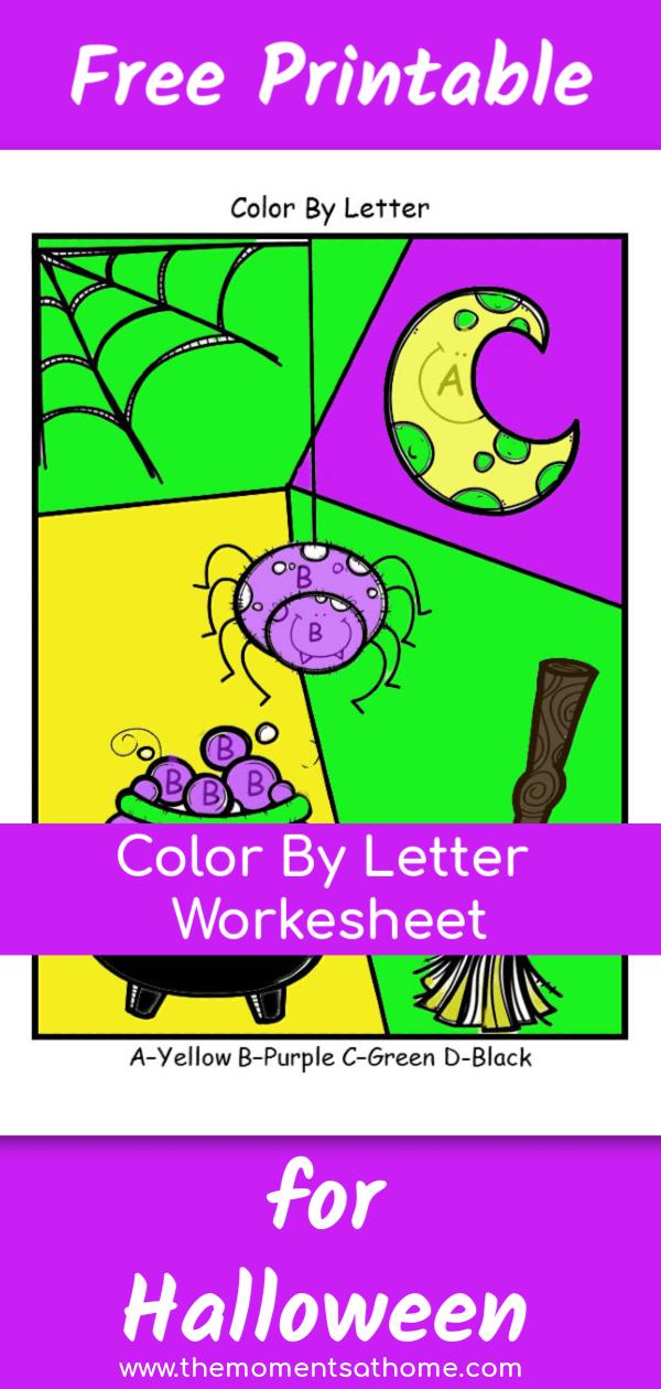 Color by letter Halloween printable for kids. #printable #kids