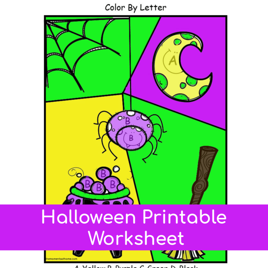 Halloween color by letter printable for kids.