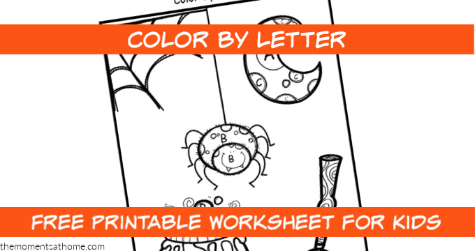 Halloween color by letter printable worksheet.
