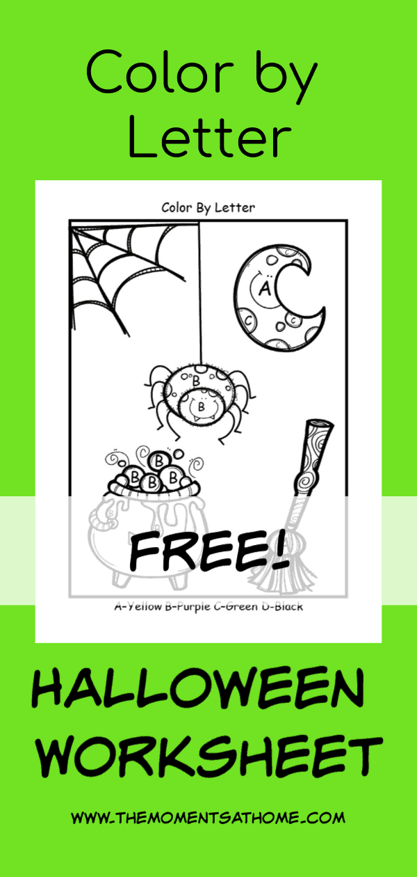 Color by letter Halloween printable for kids. Halloween for kids.