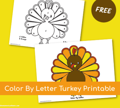 Color By Letter Turkey Printable for Kids