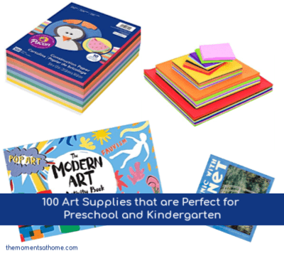 Art supplies for preschool and kindergarten.