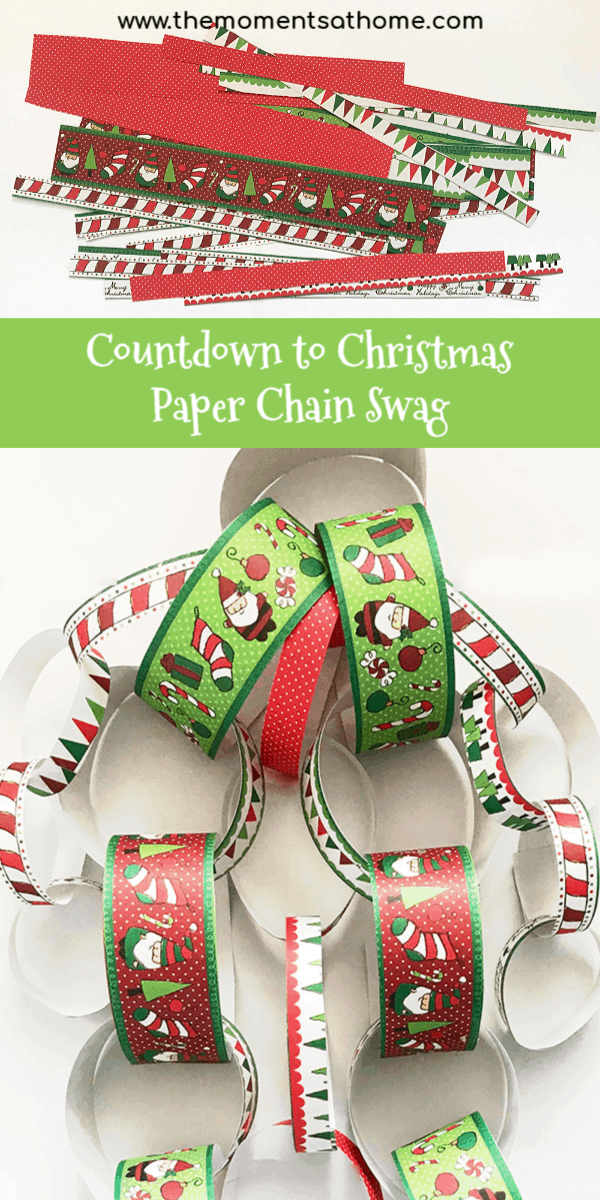 Christmas countdown paper chain wreath. Christmas swag made of paper. #christmascrafts #christmascountdown