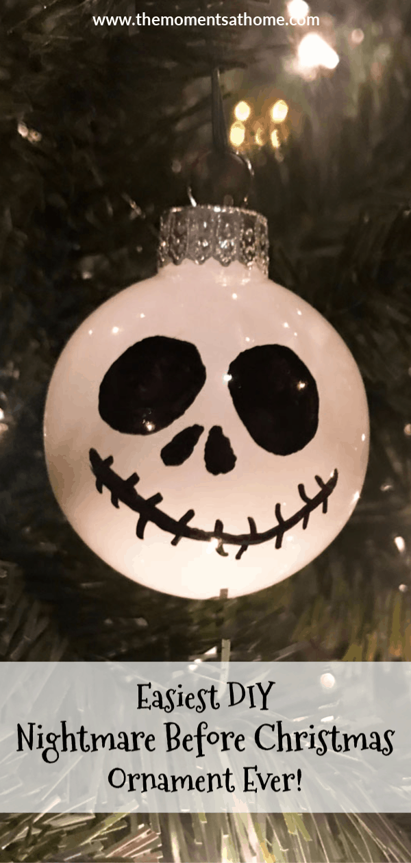 Easiest Nightmare Before Christmas ornament ever! DIY Jack Skellington Ornament. #diyornament #nightmarebeforechristmas