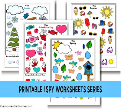 I Spy series from The Moments at Home. Free I spy printable for kids. #freeprintable #printableworksheets