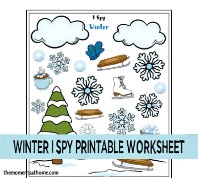 Winter I Spy printable worksheet for kids.