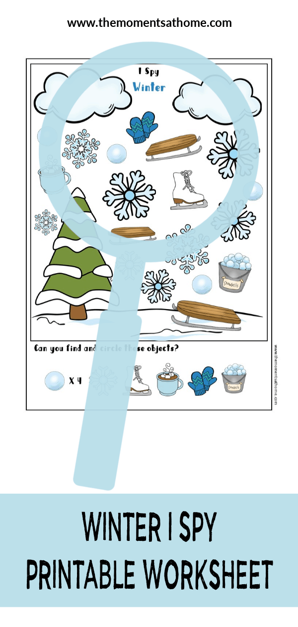 Winter I Spy printable worksheet for kids. #printableworksheets #kindergarten