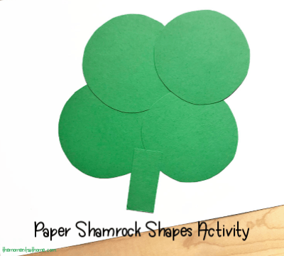 Paper shamrock craft for kids. St. Patrick's Day craft for kids.