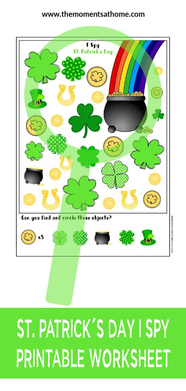 I spy printable for kids. St.Patrick's Day themed printable for kids. #printable #stpatricksday