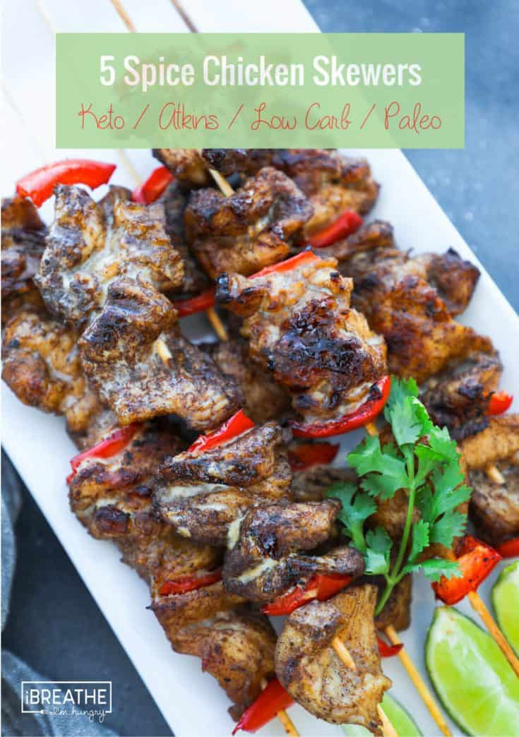 5 Spice Chicken Skewers - Keto, Low Carb, Paleo