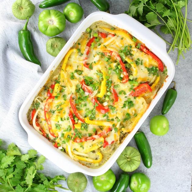 Salsa Verde Low Carb Chicken Casserole