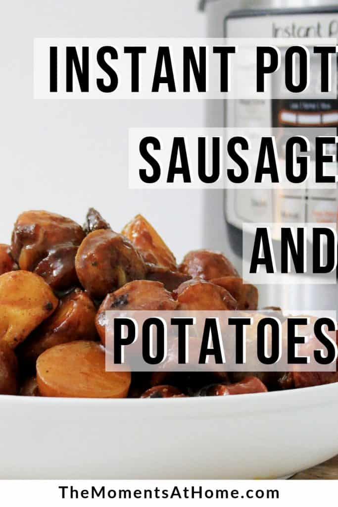 Instant Pot with bowl of sausage and potatoes covered in smoky BBQ sauce