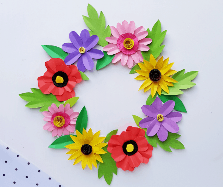 beautiful DIY paper flower wreath craft idea