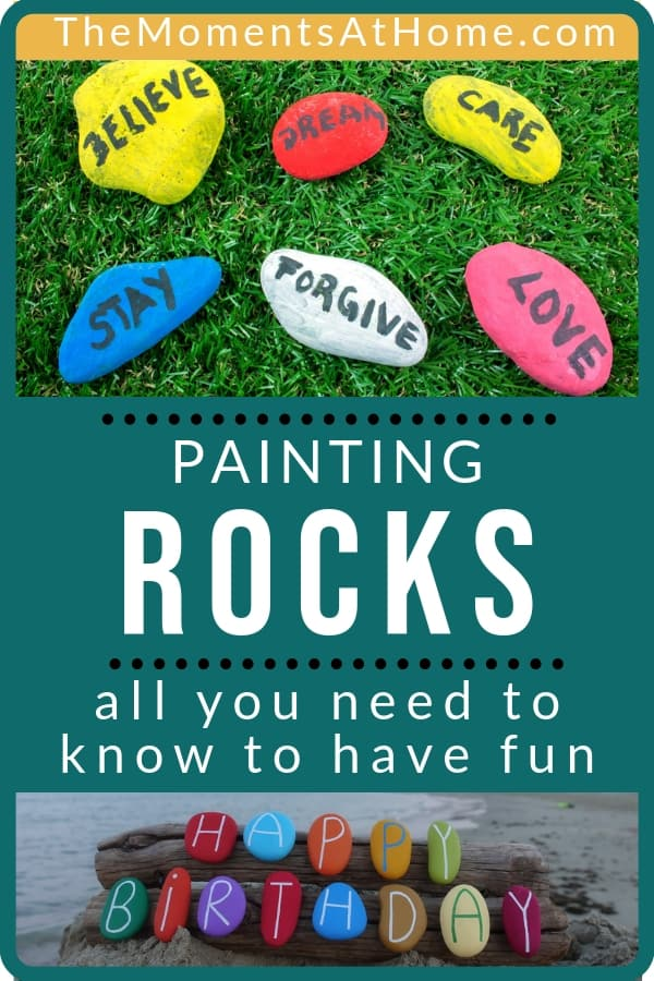 """How To Paint Rocks With Kids"" text with examples of painted rocks"