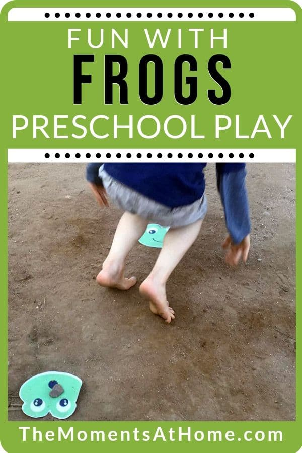 "photo of paper craft frog and child playing leap frog with text ""gross motor skills: frog fun activity"" by The Moments At Home"