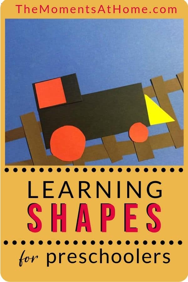 "construction paper train project with text ""learning shapes for preschoolers"" by The Moments At Home"