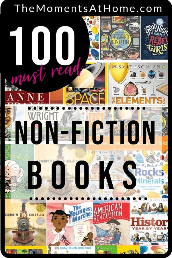 collage image of 100 non fiction books for kids from The Moments At Home