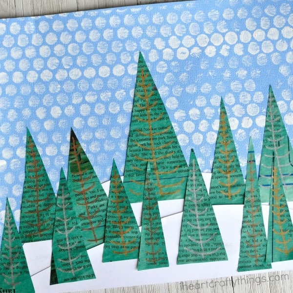 Pretty winter art projects for kids the moments at home for Disegno paesaggio invernale
