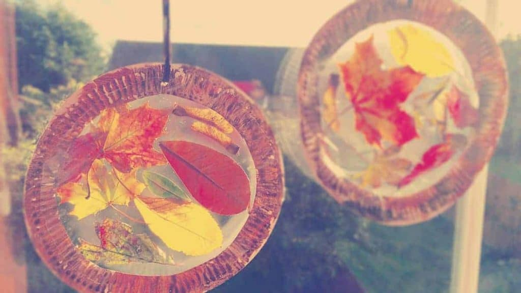 sun catchers made out of ironed wax paper and leaves with a paper plate crafted frame