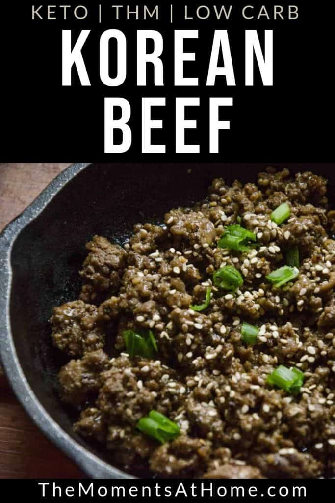 "cast iron skillet with beef and sesame seeds and text ""Korean beef bulgogi"" by The Moments At Home"