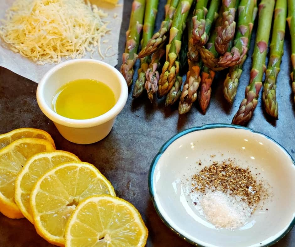 lemon, oil, and parmesan alongside asparagus to roast for keto roasted asparagus