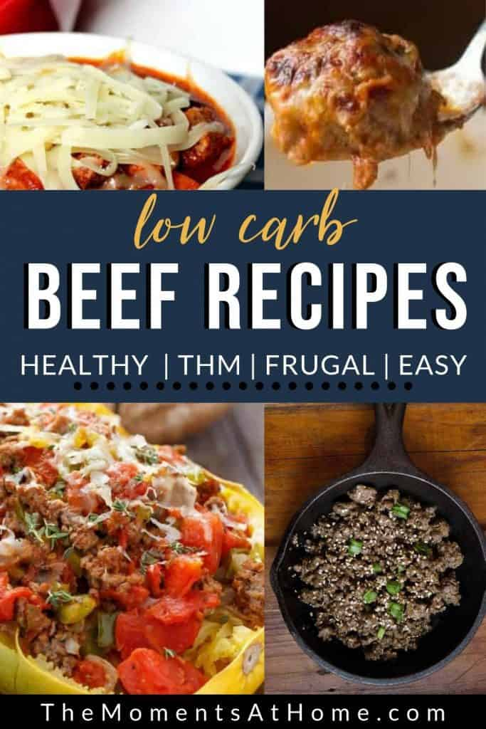"beef stuffed squash, keto beef bulgogi, low carb lasagna, and diabetic friendly meatballs with text ""24 low carb beef recipes"" from The Moments At Home"