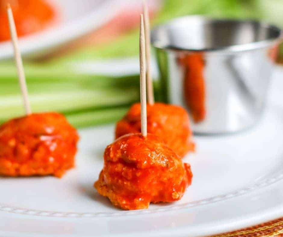 keto buffalo chicken meatballs on a plate