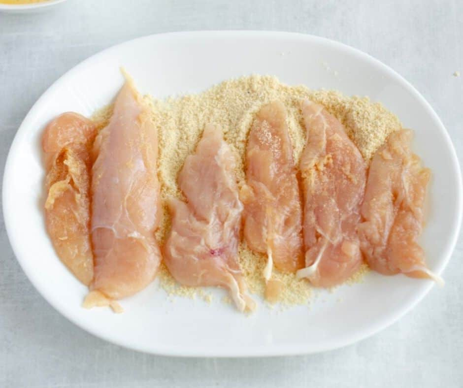 chicken tenders in keto flours for breading
