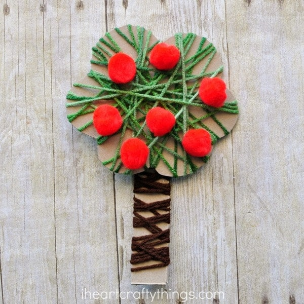 Yarn Wrapped Apple Tree Craft