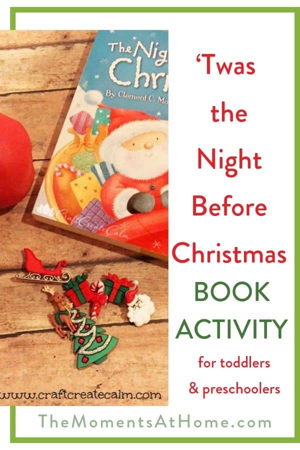 """kids Christmas craft using holiday buttons and play dough with text """"Twas the Night Before Christmas book activity"""" by The Moments At Home"""